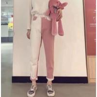 Брюки джинсовые DAICLAIRE  9556-6 розово-белые